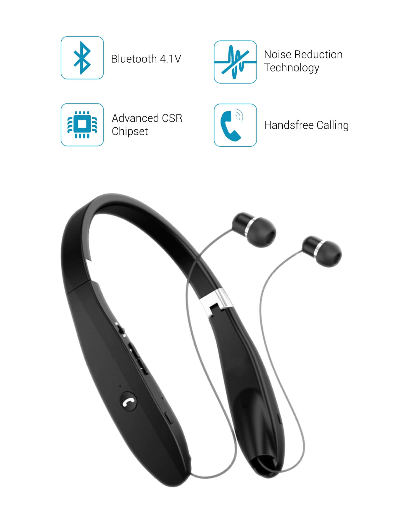 93d4f6a366e Harmonics 200- Wireless Neckband Headphone | Wireless Stereo headset ...
