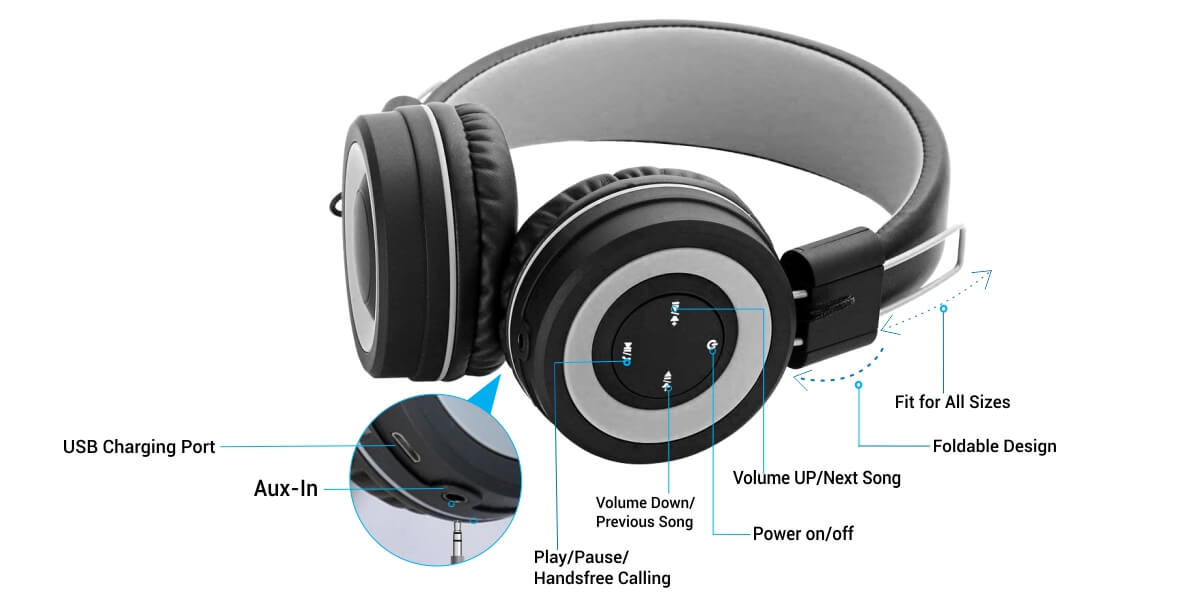 Muffs G - Bluetooth 4 2 Over-Ear Stereo Headphone with Mic & Aux-in