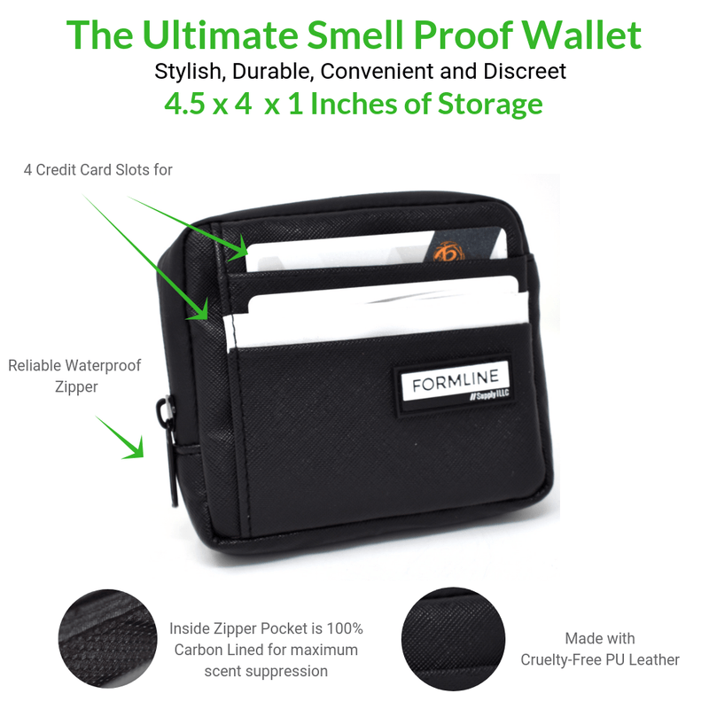 Formline Smell Proof Bag and Minimalist Wallet (4.5x4x1 inch)