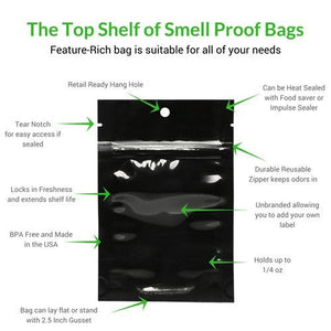 25 Smell Proof Bags (4x6 Inches) - Made in USA - Free Shipping!