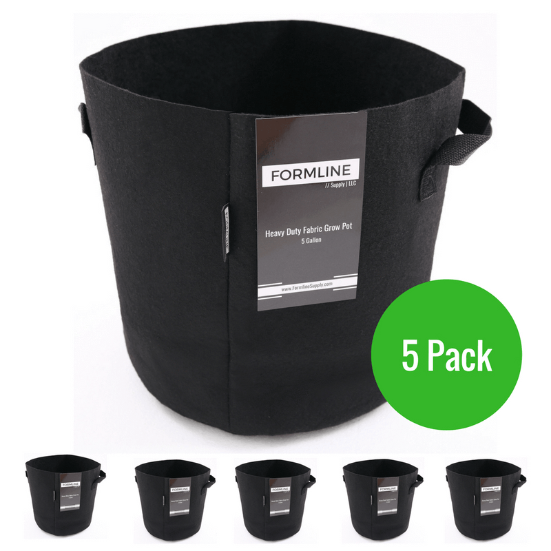 Grow Bags [Pack of 5] by Formline Supply - 5 Gallon