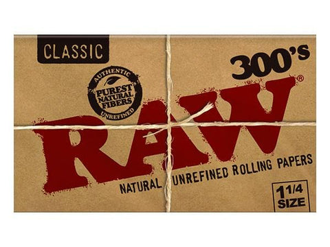 Raw Rolling Papers - Classic 300's - 1 1/4 Size - Natural Unrefined