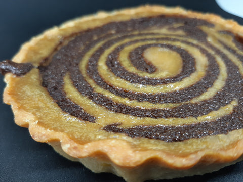 Coffee cream and chocolate frangipani tart