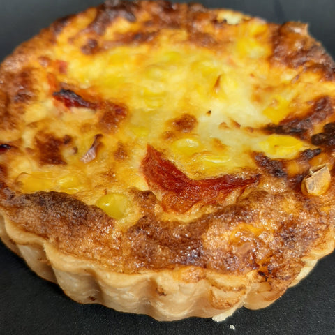 Smoked corn and cheese tart