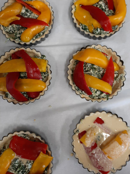 Spinach and sweet pepper tart