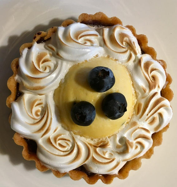 Blueberry and passionfruit tart