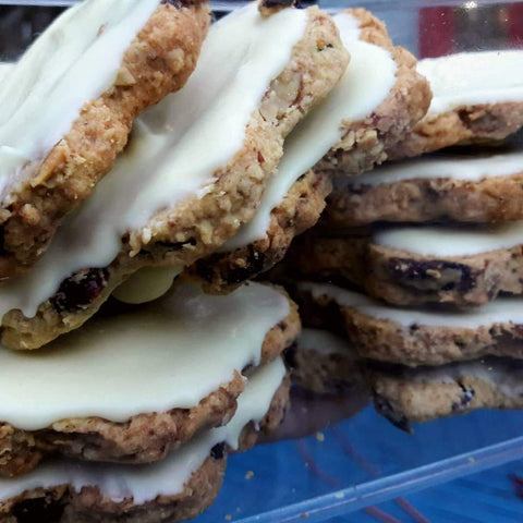 Oaty cranberry and white chocolate cookies