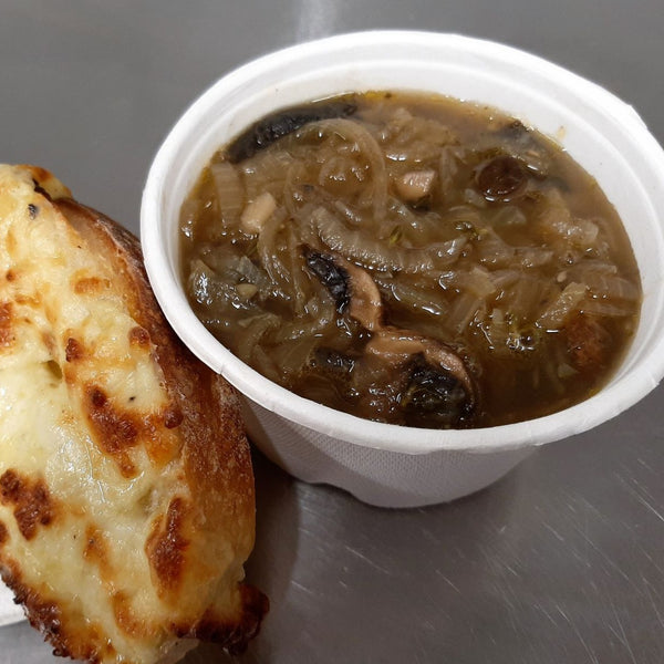 French onion soup with mushrooms and a cheesy sourdough