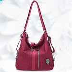 Women Waterproof Nylon Lightweight Multifunction Handbag Crossbody Bag Backpack