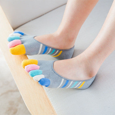 2017 Women Colorful Boat Five Toes Sock Breathable Comfy Anti-skid Socks - MagCloset