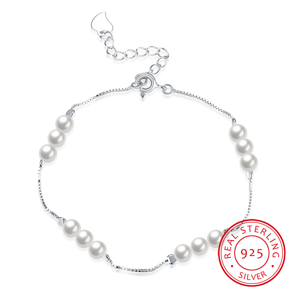 925 Sterling Silver Shell Pearl Exquisive Chain Bracelet