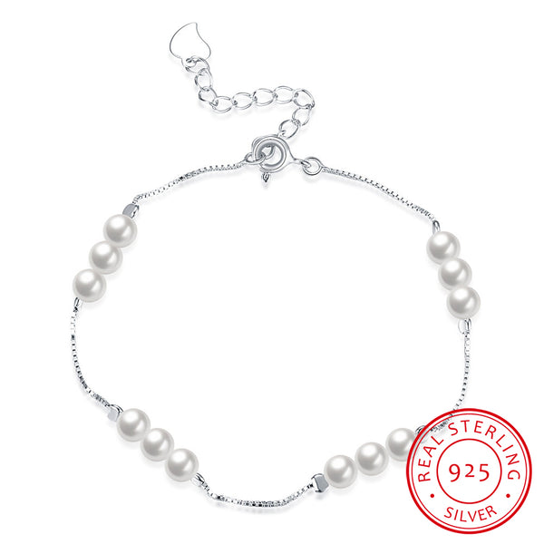 925 Sterling Silver Shell Pearl Exquisive Chain Bracelet - MagCloset