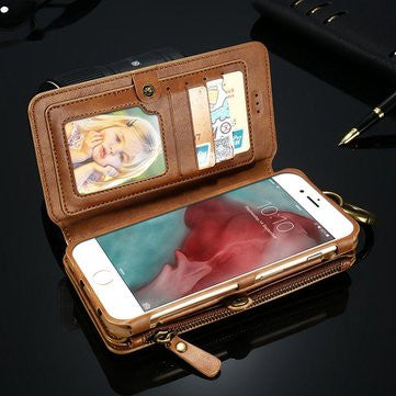 CLEARANCE-For iPhone 7 Plus Retro Vintage Leather Multifunctional Wallet Case Detachable Phone Case - MagCloset