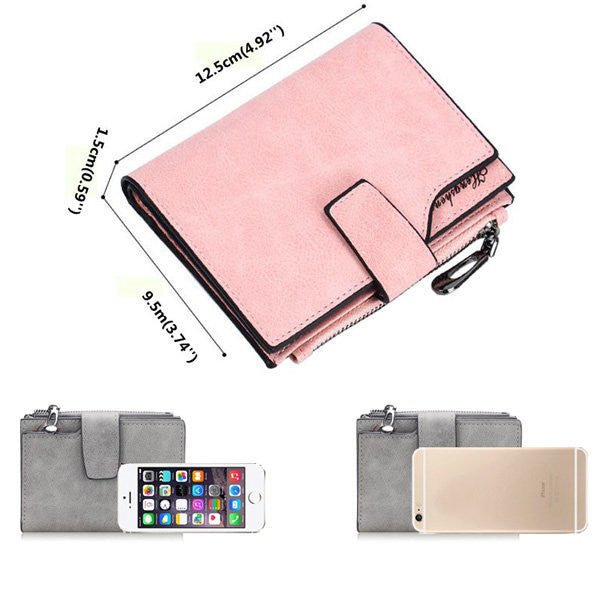 CLEARANCE-Woman PU Candy Color Short Style Card Bag Change Bag Girls Elegant Wallet Purse