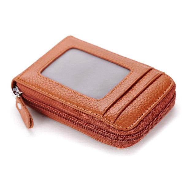 Men Women Leather Capacity Card Holder Portable Coins Bag - MagCloset