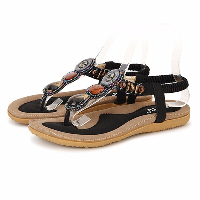 Women Summer Bohemia Rome Style Beaded Jewelry Lady Sandals Soft Outsole Shoes