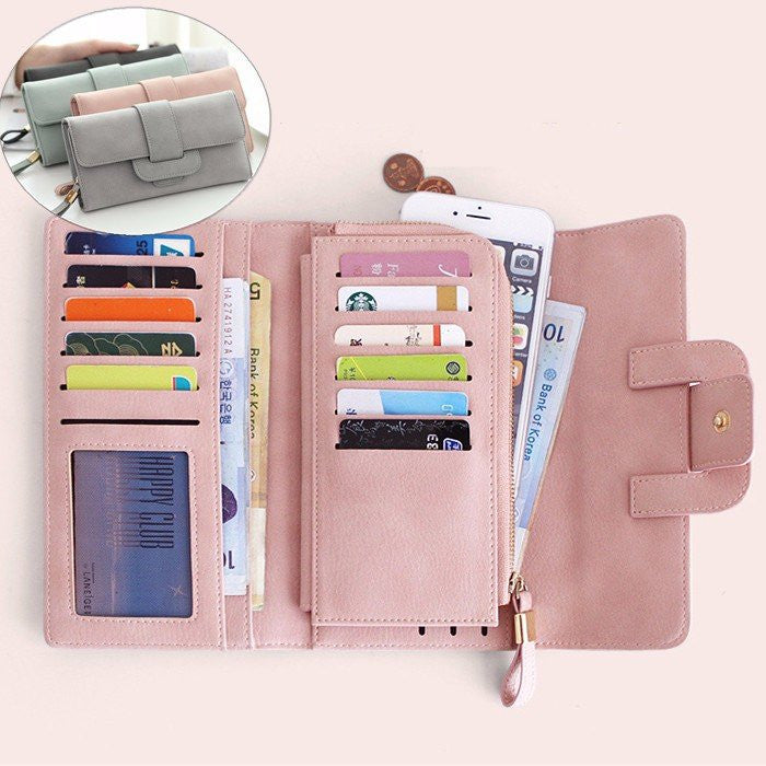 Large Capacity PU Multi-slots Button Hand Wallet Bag For 5.5-inch Smartphone - MagCloset