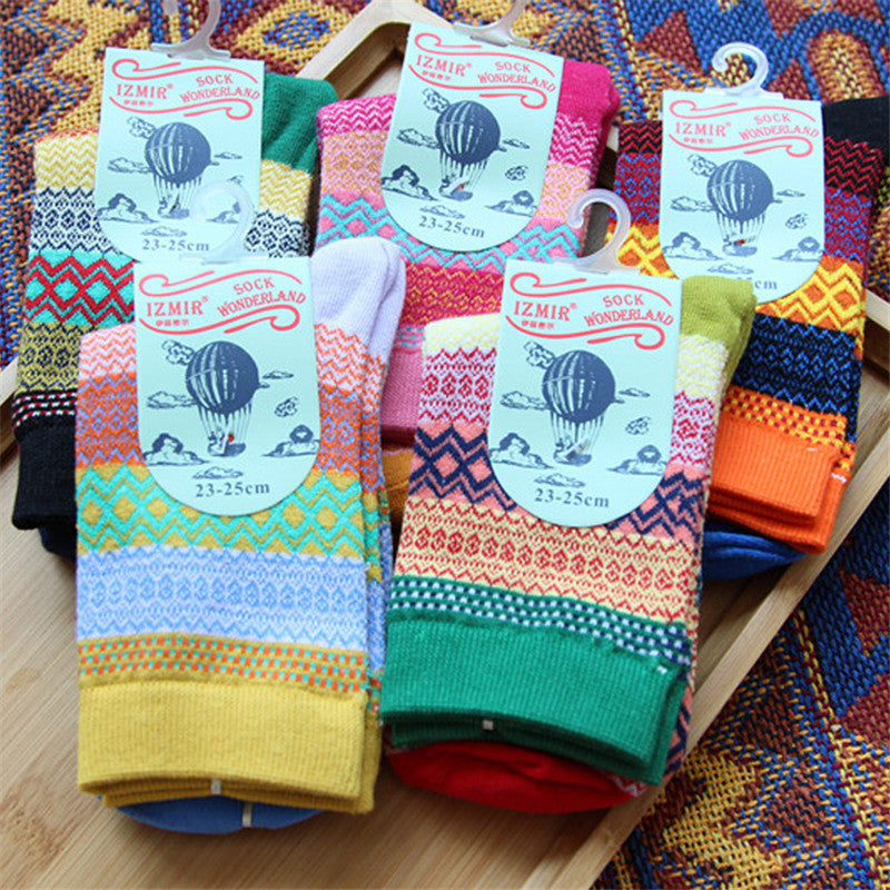 Men Women Stripe Cotton Socks Design Multi-Color Fashion Casual Ankle Sock - MagCloset