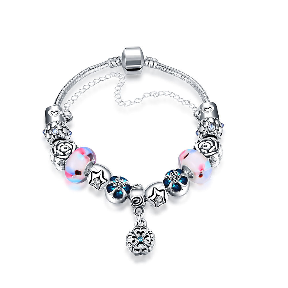 Color Crystal Beads Combined with Glass Beads Silver Plated Chain Bracelet