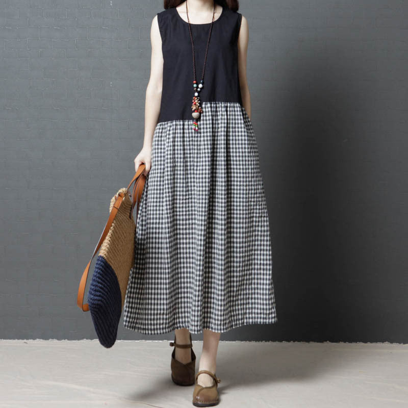 Crew Neck Sleeveless Patchwork Maxi Dress