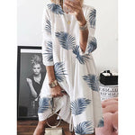 Round Collar Loose Leaf Printing Women's Dress