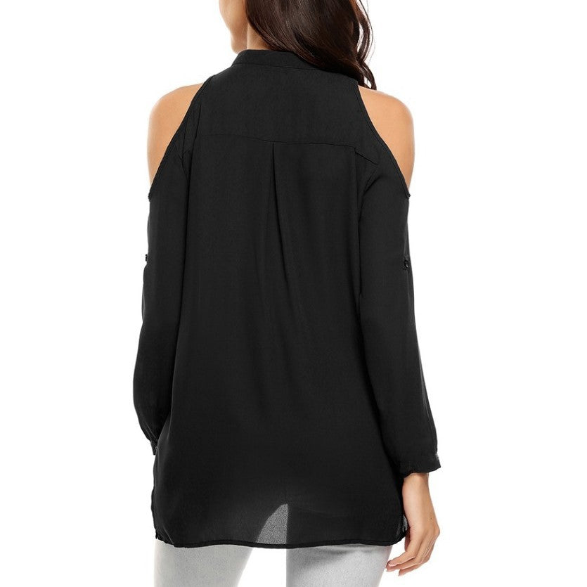 Plus Size S-8XL Off Shoulder V-Neck Chiffon Blouse Shirts