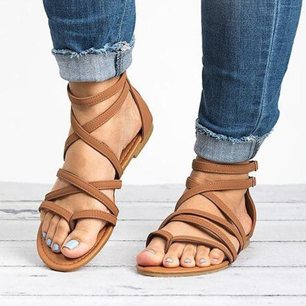 Casual Cross Strappy Flat Sandals