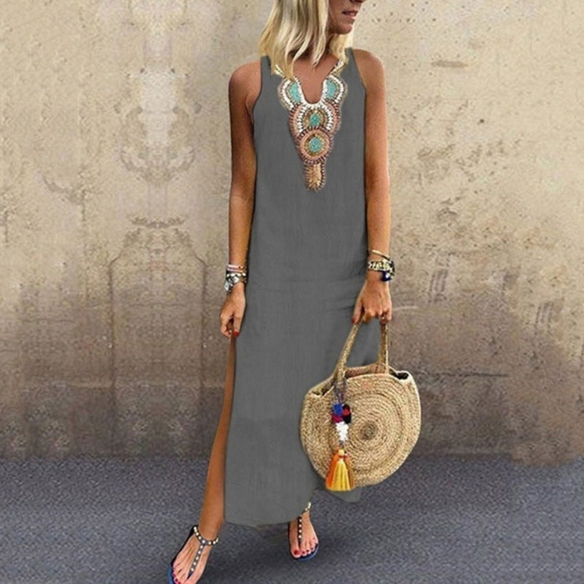 Side Split V Neck Printed Sleeveless Casual Dresses