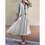 Women Cotton Long Sleeve Casual Patchwork Striped Dresses