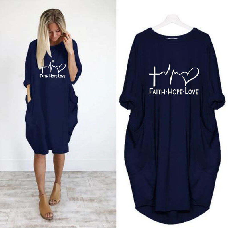 Casual Women Loose Pocket Half Sleeve Irregular Dress