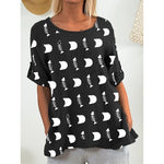 Daily Fish Bone Printed Short Sleeve Blouse