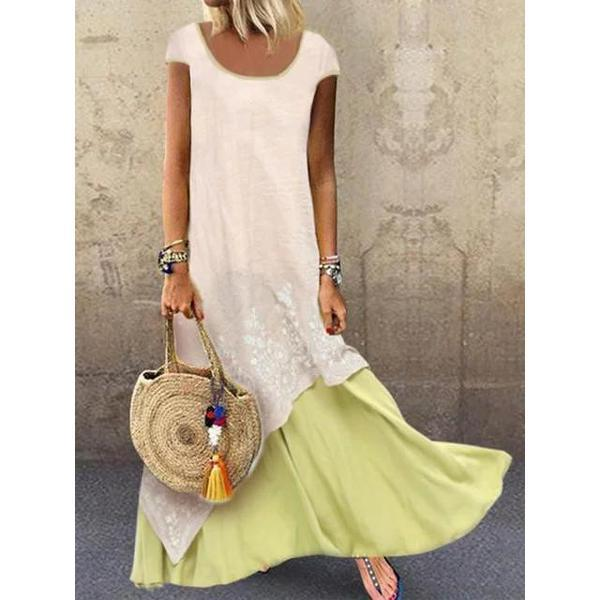 Crew Neck Vacation Summer Dresses