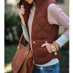 Solid Color Cotton Stand Collar Pocket Vest