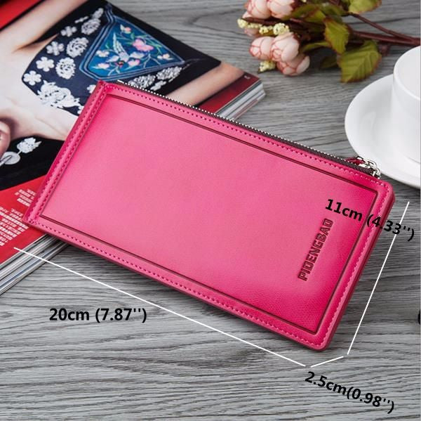 CLEARANCE-Women Men Ultrathin 15 Card Slots Business Long Zipper Wallet Large Capacity Cards Cellphone Purse - MagCloset