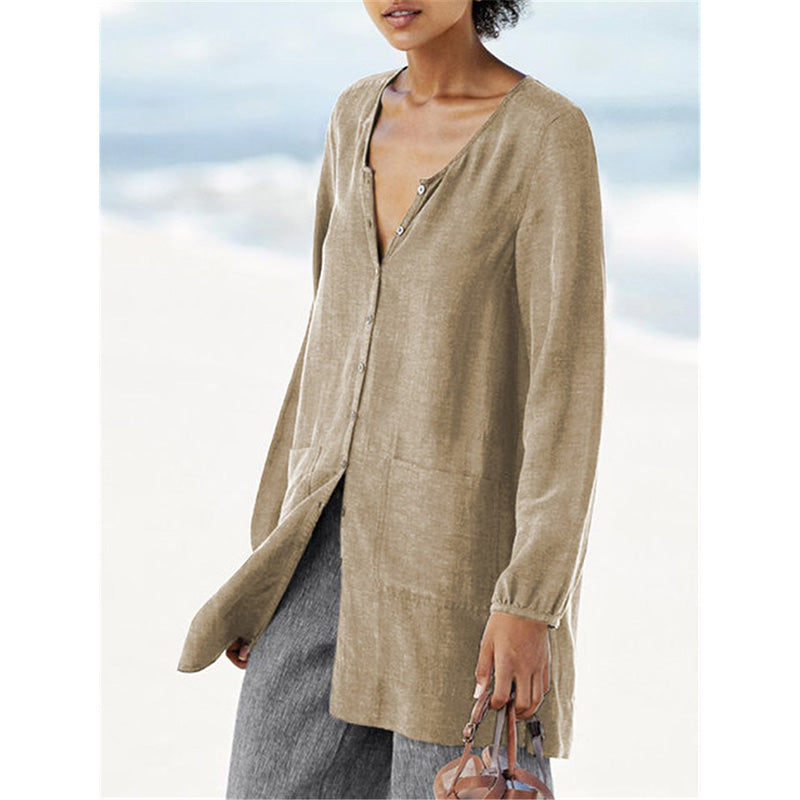 Buttoned V Neck Linen Cotton Long Blouse Shirt