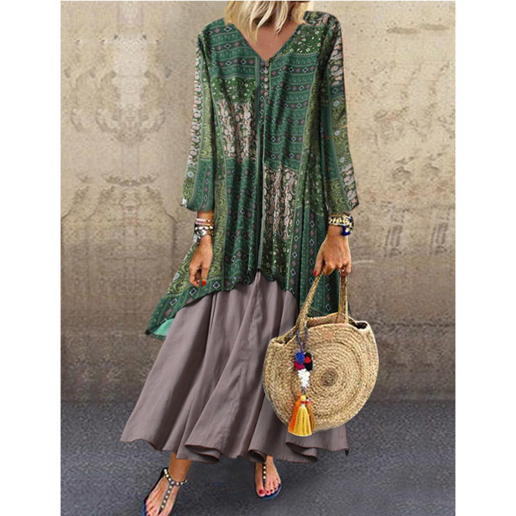 Long Sleeved Patchwork Printed Maxi Dress