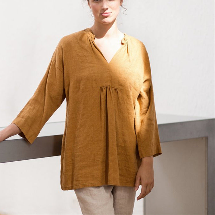 Cotton Solid Crop Sleeve Gathering Blouses