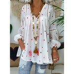 Fashion V Neck Star Printed Long Sleeved Blouse Shirt