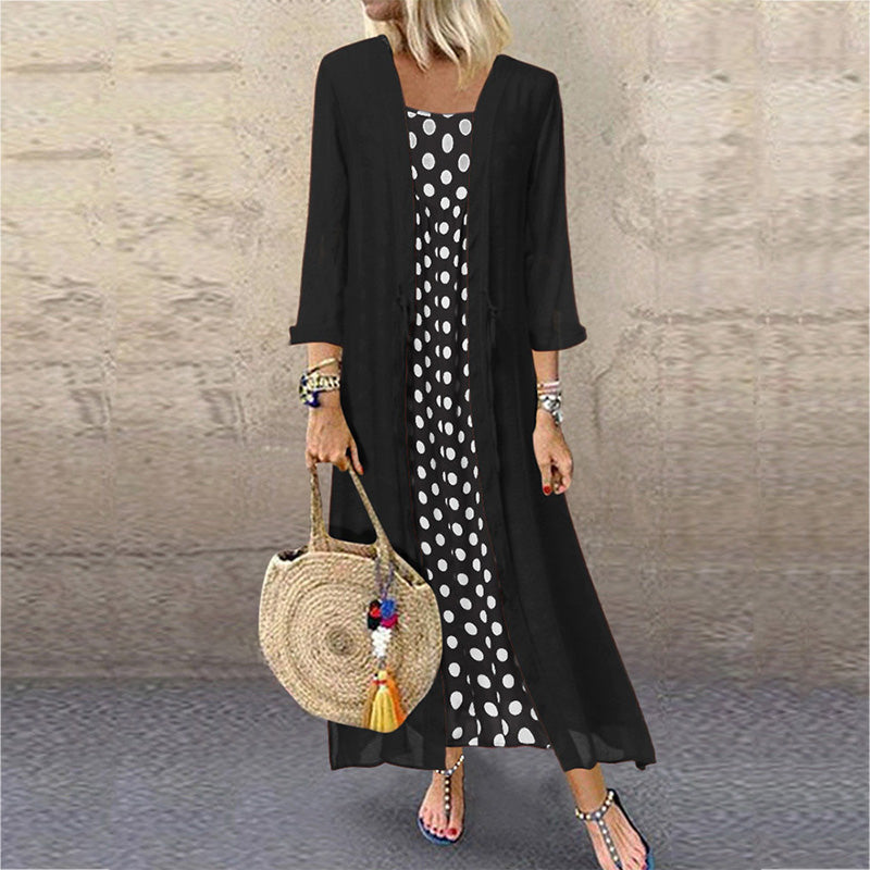 Polka Dot Lace Up Long Sleeve Two-Piece Maxi Dress