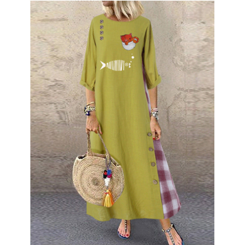 Cotton Linen Printed Patchwork Loose Dress
