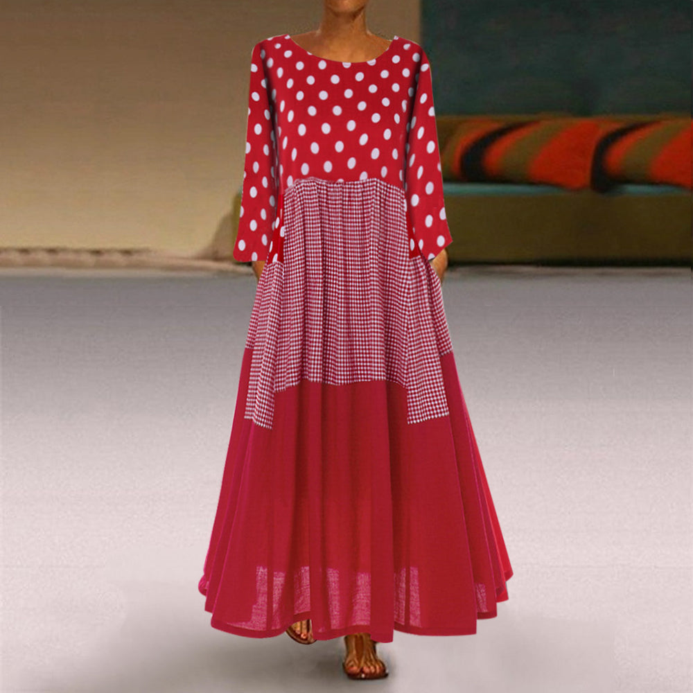 Polka Dot Grid Patchwork Long Sleeve Maxi Dress