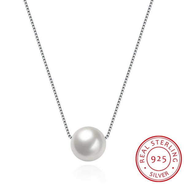 Shell Pearl Pendant 925 Sterling Silver Chain Necklace