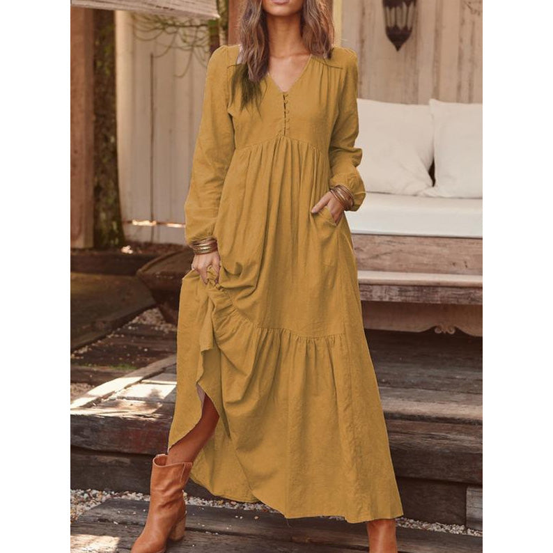 Buttons V-neck Puff Sleeve Ruffle Draped Bohemian Maxi Dress