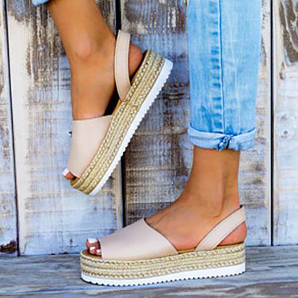 Fashion Espadrilles Thick-Soled Peep Toe Flat Sandals