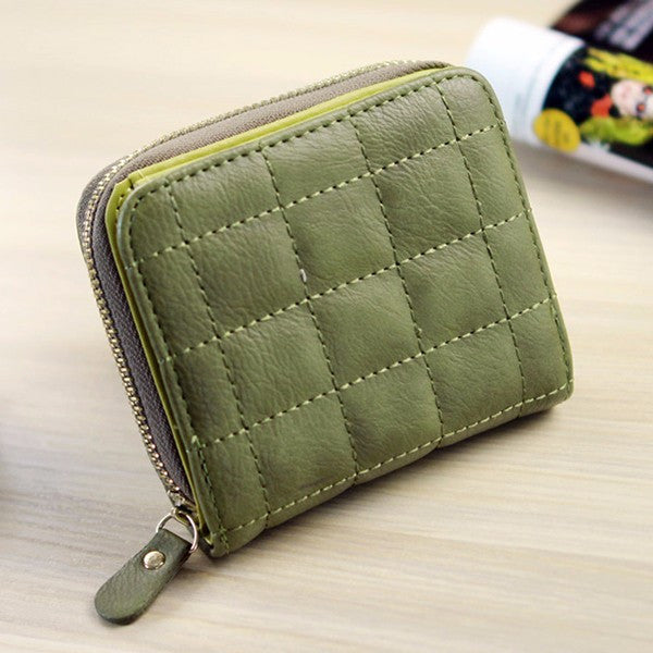 Vintage Short Grid Card Holder PU Leather Purse Coin Bags For Women