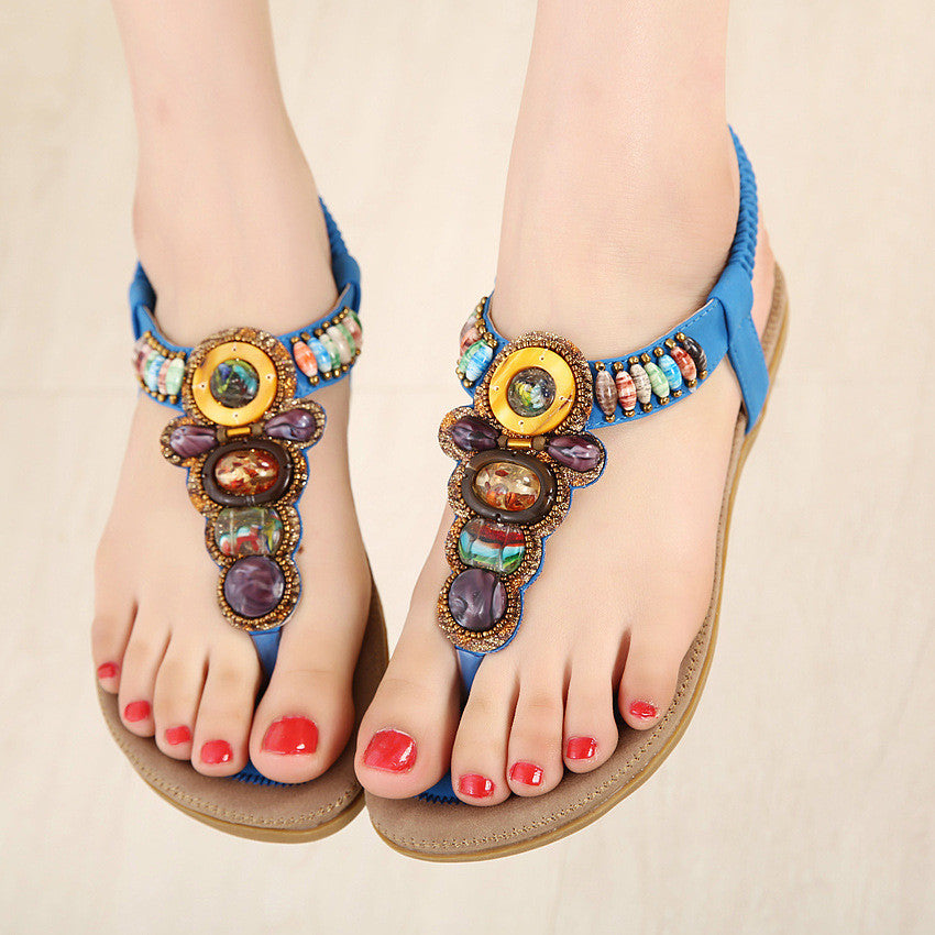 New Women Summer Bohemia Rome Style Beaded Jewelry Lady Sandals Soft Outsole Shoes