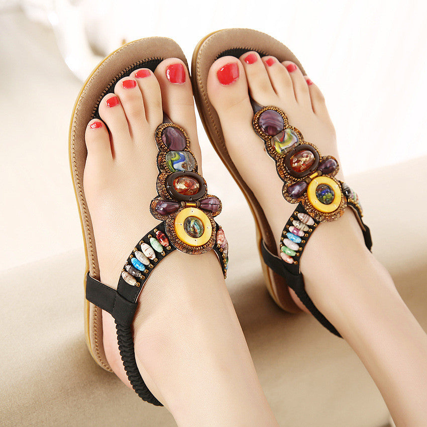 2017 New Women Summer Bohemia Rome Style Beaded Jewelry Lady Sandals Soft Outsole Shoes - MagCloset