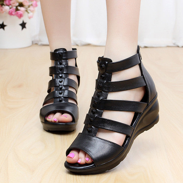 Genuine Leather Comfy Wedge Gladiator Sandals Shoes - MagCloset