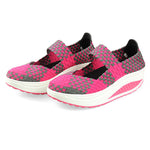 Knitting Slip On Athletic Platform Casual Shake Rocker Bottom Shoes - MagCloset