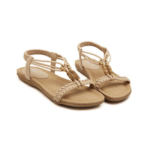 Summer Casual Knitting Bead Sandals Flats Shoes